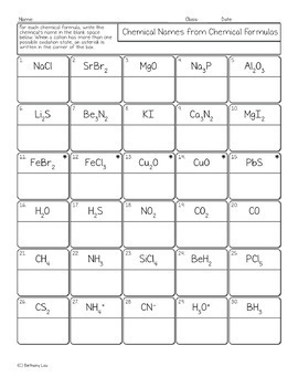 Nomenclature Chemistry Homework Pages