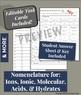 Nomenclature Task Cards