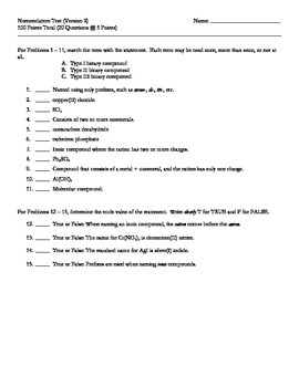 Nomenclature Test (V2 of 4) + Key