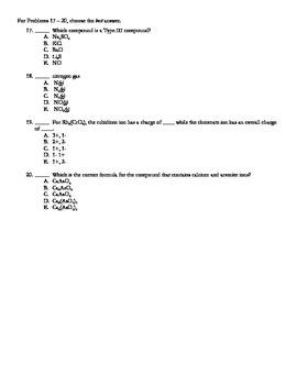 Nomenclature Test (V4 of 4) + Key