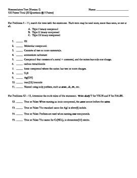 Chemistry Nomenclature Tests (Pack of 4) + Keys