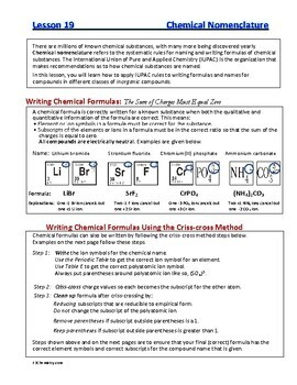 Nomenclature: Writing and Naming Formulas - Guided HS Chemistry Notes