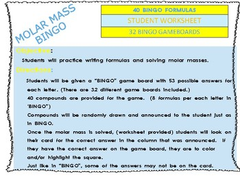 "Nomenclature and Molar Mass ""BINGO"" Game"