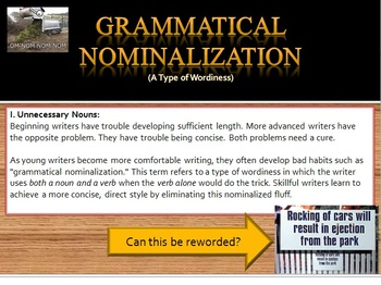 Nominalizations:(Eliminating Wordiness) Bundle