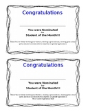 Nomination - Student of the Month (Editable)