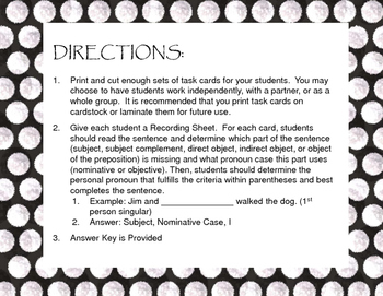 Nominative and Objective Pronoun Case Review Task Cards