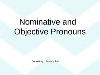 Nominative and Objective Pronouns PowerPoint (Subject & Object Pronouns)