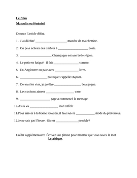 Noms, masculin ou feminin (Nouns in French) worksheet