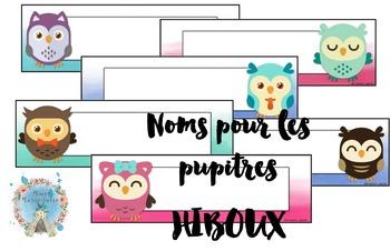 Noms pour le pupitre -Hiboux