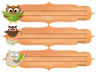 Noms pour pupitres (hiboux) / Owl name plates