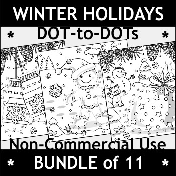 Non-Commercial Bundle of Winter Holidays Connect the Dots and Coloring Pages
