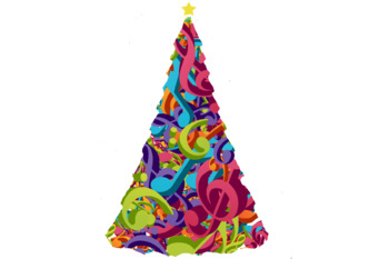 Non-Commercial Music Note Christmas Tree Clip Art