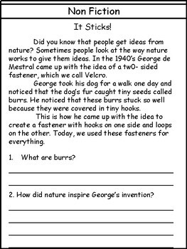 Non Fiction Comprehension Printables