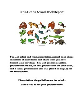 Non Fiction Animal Book Report Project Page