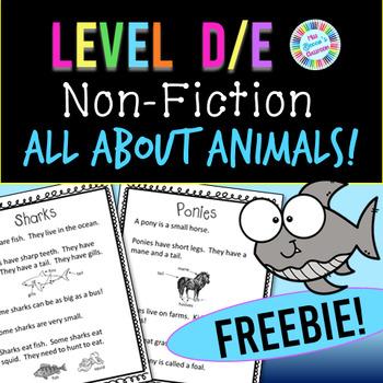 Non-Fiction Animal Passages - Level D / Level E FREEBIE!