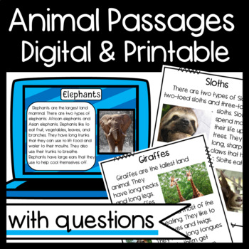 Non-Fiction Animal Passages: Main topic/Key Details/Ask and Answer Questions