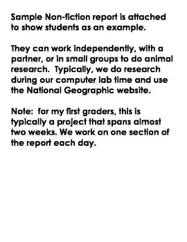 Non-Fiction Animal Research Project - includes sample to show students