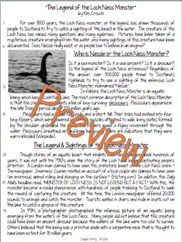 Non-Fiction Article-# 2-Loch Ness Monster-Common Core Questions,  NO PREP