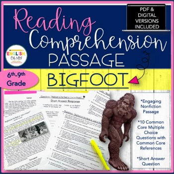 Non-Fiction Article-#1-Bigfoot-Common Core Questions, Short Answer, NO PREP
