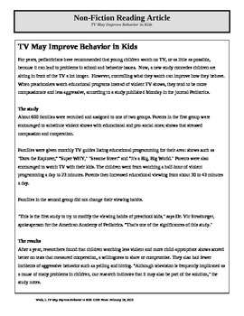 Non-Fiction Article--TV Improves Behavior
