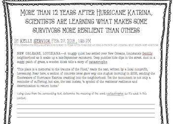 Non-Fiction Article and Comprehension Questions: Resilience Study from Katrina