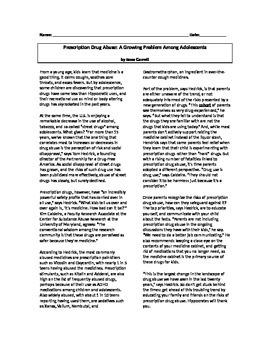 Non-Fiction Article on Prescription Drug Abuse