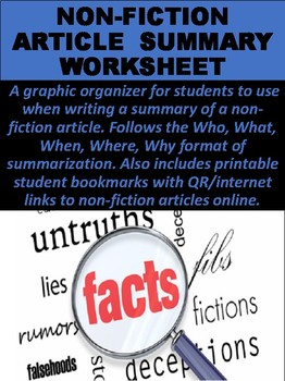 Non-Fiction Article Summaries Worksheet by Mz S English Teacher | TpT