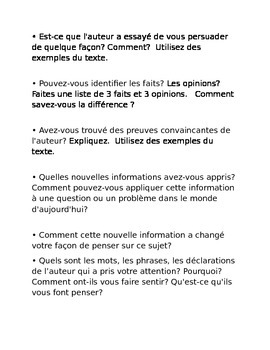 Non-Fiction BCR (Brief Constuctive Response) Questions in FRENCH