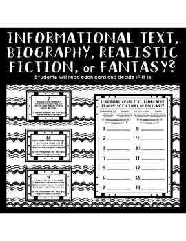 Genre Sort: Biography, Informational Text, Realistic Fiction, and Fantasy