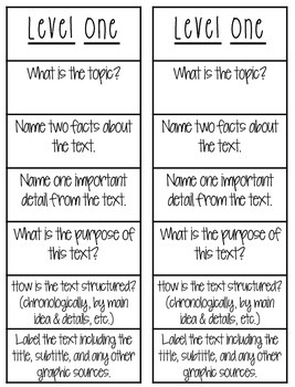 Non Fiction Bloom's Ladders: Increase Your Students' Thinking!