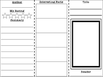 Non-Fiction Book Report Brochure for ANY Text