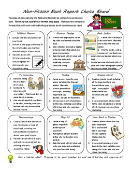 Non-Fiction Book Report Choice Board with Extras