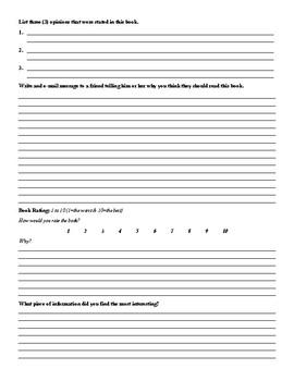 Non-Fiction Book Report Form
