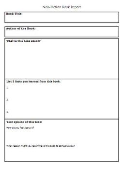 Nonfiction book report graphic organizer