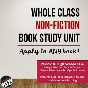 Non-Fiction Book Study/Unit: Apply to ANY Book!