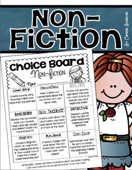 Non Fiction Choice Board Activities Reading Response
