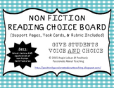 Non Fiction Reading Choice Board (Support Activities & Task Cards Included)