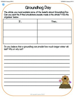 Non-Fiction Common Core Close Reading and Writing: Groundhog Day