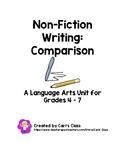 Non-Fiction Comparison Writing for the Intermediate Grades