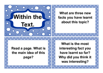 Fountas and Pinnell type Non Fiction Comprehension Question Cards.