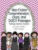 Non-Fiction Comprehension, Cloze, and DAZE Passages (Famous Women Edition 1)