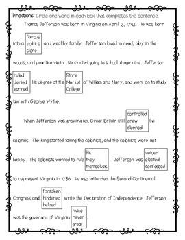 Non-Fiction Comprehension, Cloze, and DAZE Passages (Presidential Edition)