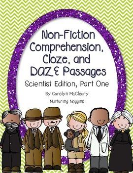 Non-Fiction Comprehension, Cloze, and DAZE Passages (Scientist Edition 1)