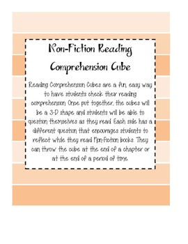 Non Fiction Comprehension Cube - Reading Comprehension Activity