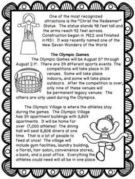 Non-Fiction Comprehension Passage: The 2016 Rio Summer Olympics