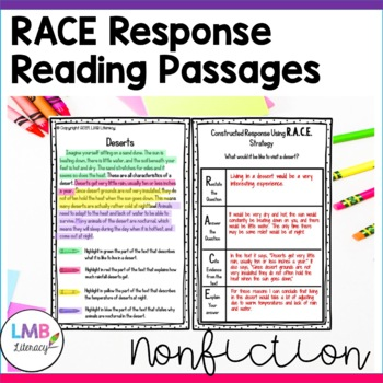 Non-Fiction R.A.C.E Strategy Practice Passages Grades 3-5