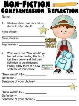 Non-Fiction Comprehension Reflection Form