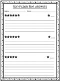 Non-Fiction Comprehension Task Cards and Answer Sheet