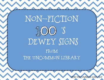 Non-Fiction Dewey Posters  for Your Library Media Center - 100's/Chevron