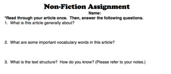 Non-Fiction Differentiated Assignment (Close Reading)
